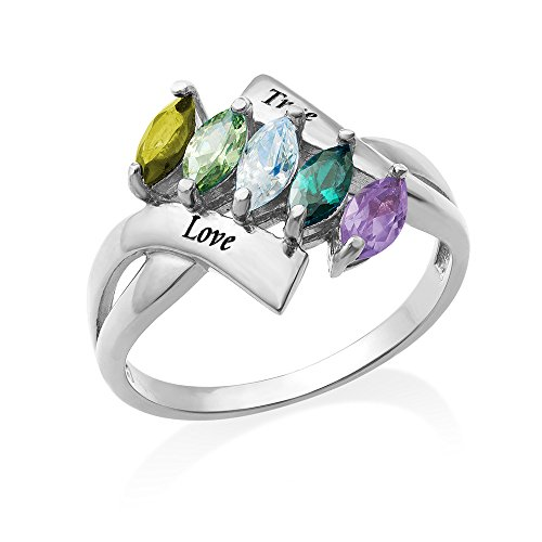 Birthstone Ring for Mom in Sterling Silver - Personalized & Custom Made