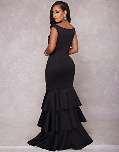 YOUJIA Damen Bodycon Fishtail Kleid Cocktailkleid Abendkleid Rüschen ...