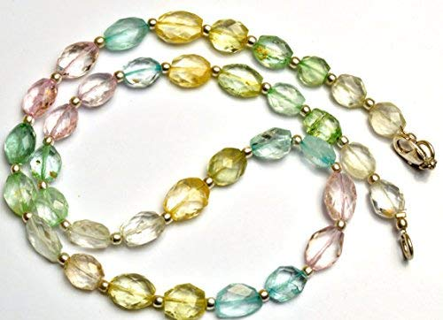 1 Strand Natural Multicolor Aquamarine Facet Oval Nugget Beads 16