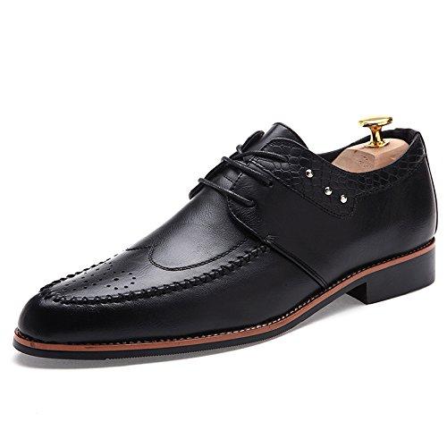 WZG Zapatos de los hombres de negocios de alta calidad de cuero genuino zapatos de los hombres Bullock zapatos tallados de los hombres Black