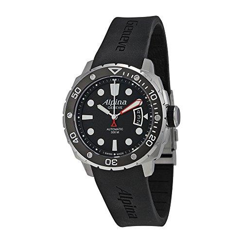Alpina Seastrong Diver 300 Automatic Black Dial Rubber Mens Watch AL-525LB4V36