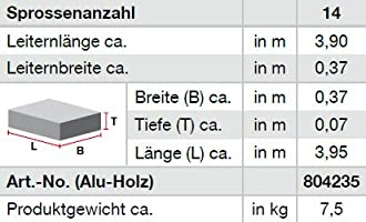 KRAUSE escalera de techo de aluminio-madera, 14 peldaños: Amazon.es: Bricolaje y herramientas
