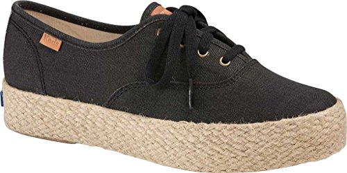 Keds Women's Triple Pigment Canvas Jute Fashion Sneaker, Black, 6.5 M US