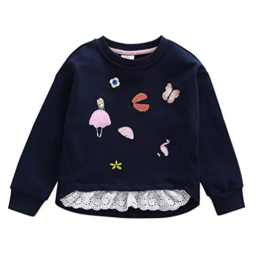 iumei Baby Sweatshirt Newborn Toddler Girl Embroidery Splicing Lace Clothes Long Sleeve Pullover Tee (4-5 T, Navy) by iumei