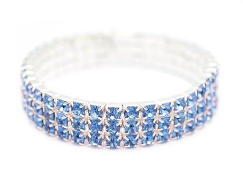 [Petite Womens Classic Silver 3 Row Periwinkle Rhinestone Stretch Tennis Cuff Bracelet] (Las Vegas Showgirl Costume)