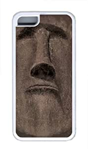 Easter Island Face TPU Silicone Case Cover for iPhone 5C White