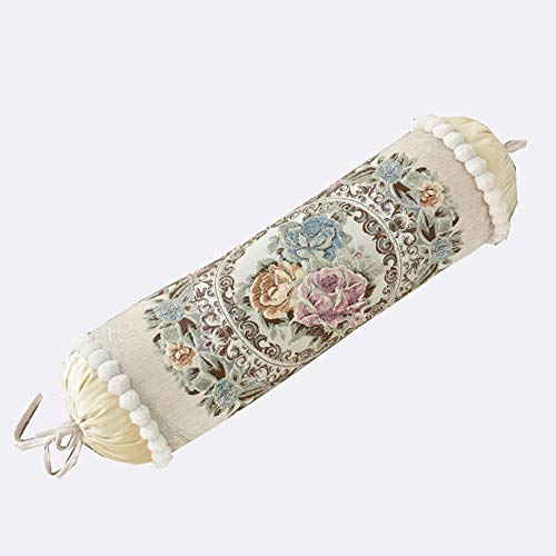 European Palace Luxury Long Sofa Pillow Candy Cylinder Bolster Pillow Nap Containing Core (Beige 1)