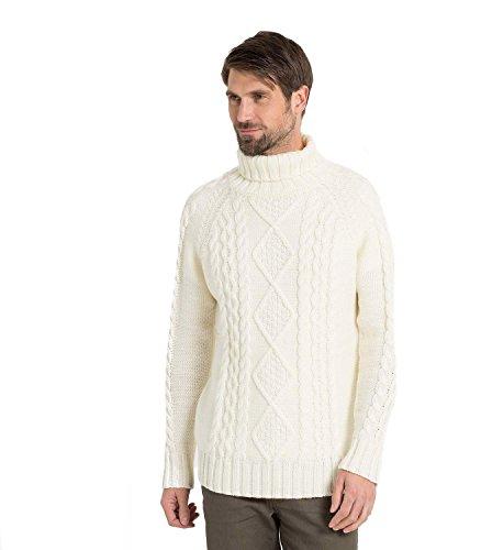 WoolOvers Pullover mit Aran-Muster und Rollkragen aus reiner Wolle für Herren Cream, S