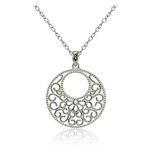 Sterling Silver High Polished Medallion Filigree Necklace (Medallion Filigree)