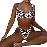 PASATO Women Sexy Fashion Leopard Print Push-Up Padded Bra Beach Swimsuit Bikini Set (Brown,M)