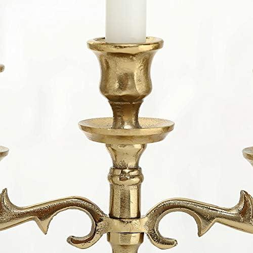 Home Collection Portacandele Design Candelabro a 3 Bracci Colore Oro Stile Barocco Shabby Chic 23x26cm