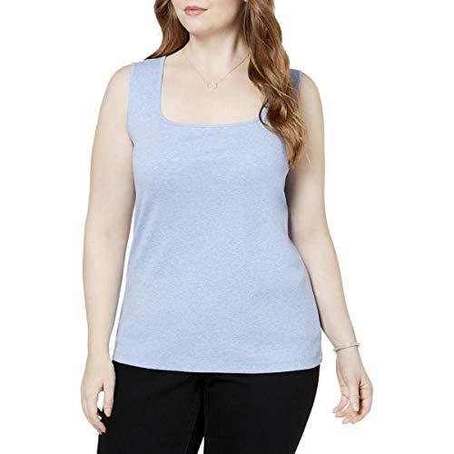 - Karen Scott Womens Plus Square Neck Sleeveless Tank Top Blue 0X