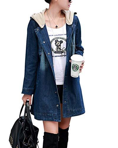 Primavera Fashion Mujer Als Jacket Classic Casual De Encapuchado Botones Manga Slim Otoño Abrigo Retro Cierre Chaquetas Mezclilla Bild Fit Jeans Vaqueras Larga Abrigos Largos q4xEwznC