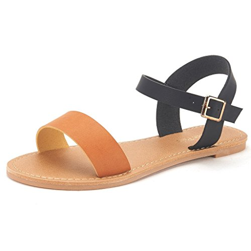 DREAM PAIRS HOBOO Women's Cute Open Toes One Band Ankle Strap Flexible Summer Flat Sandals New Black-TAN Size 8