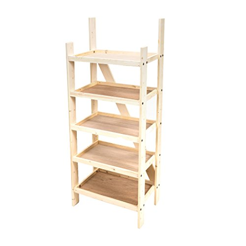 Wood Floor Shelf Display with 5 Shelves and Channel for Header Sign, Durable Solid Construction, Knocks down and accommodates side and shelf signs by RICH