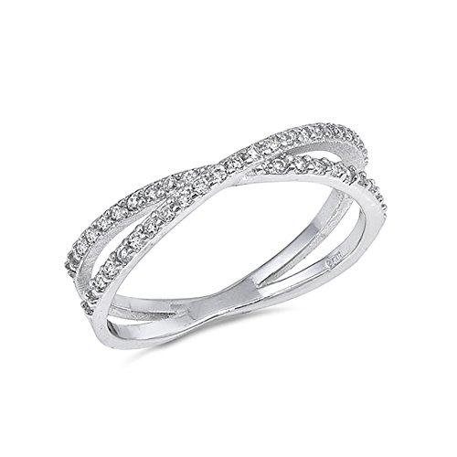 Trendy Infinity X Ring Crisscross Crossover Round Cubic Zirconia 925 Sterling Silver, Size-7 ()