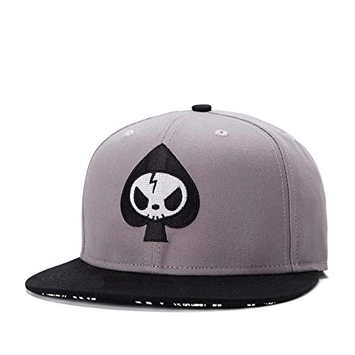 (Quanhaigou Men's Spade Embroidery Snapback,Skeletion Skull Baseball Hat Flat Bill Brim Poker Dad Caps,Hip Hop Boy's Cap)
