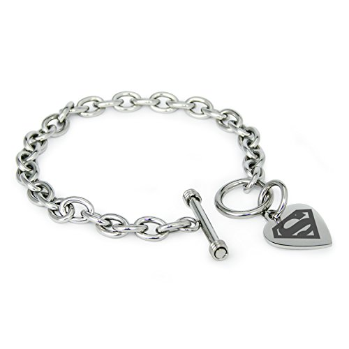 Stainless Steel DC Superman Logo Heart Charm, Bracelet Only - Superman Stainless Steel Bracelet