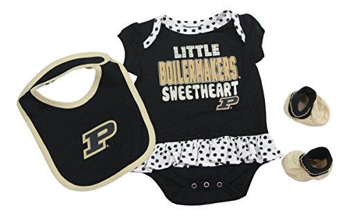 Outerstuff Purdue Boillermakers Girls Clothing, University 3 Piece Creeper Bib Booties Apparel Set ()