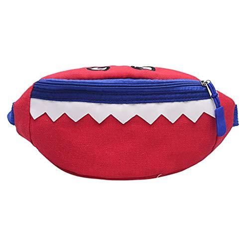 Fitfulvan Girl Kids Fashion Simple Cartoon Canvas Single Shoulder Messenger Bags (Red)