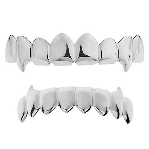 - Fang Grillz Set 8 Top Teeth Fangs Eight Bottom Silver Tone Hip Hop Vampire Mouth Grills