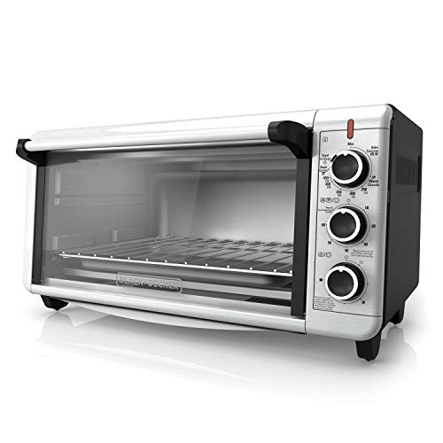 BLACK+DECKER TO3240XSBD 8-Slice Extra Wide Convection Countertop Toaster Oven, Includes Bake Pan, Broil Rack & Toasting Rack, Stainless Steel/Black Convection Toaster - Oven Giant