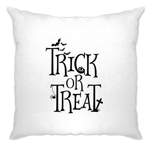 (Tim And Ted Halloween Cushion Cover Stylised Trick Or Treat Slogan White One)