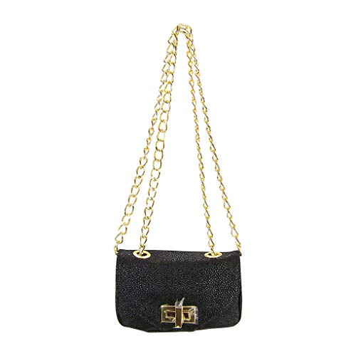 - Pietro Alessandro Black Stingray Print Crossbody Clutch Mini Handbag