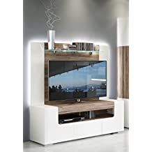 Toronto TV Cabinet with Wall Panel - Medium - Living Room Entertainment Center / Fit for up to 60 inch flat TV / High Capacity TV Stand / Toronto Collection Design