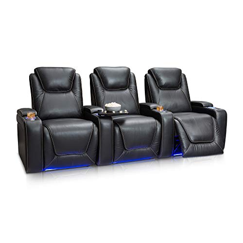 Seatcraft Equinox Home Theater Seating Power Recline Leather (Row of 3, Black)