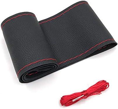 Cubierta funda volante para coche universal de cuero negro e hilo rojo microfibra 37-38cm diámetro con aguja e hilo