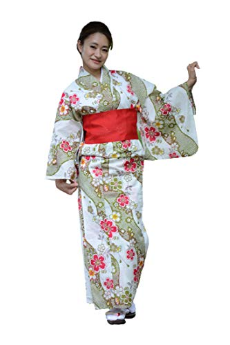 Sakura Women Japanese Yukata (Summer Kimono) & Pre Tied OBI Belt Geta Sandals/Green Running Water