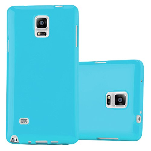 Cadorabo Case Works with Samsung Galaxy Note 4 in Jelly Light Blue - Shockproof and Scratch Resistant TPU Silicone Cover - Ultra Slim Protective Gel Shell Bumper Back Skin ()