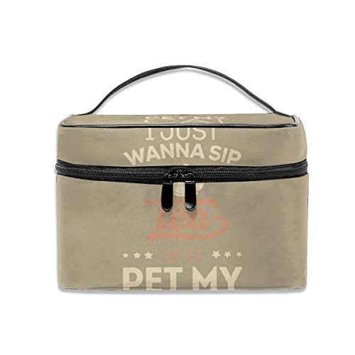 I Just Wanna Sip Tea And Pet My Cat Multifunctional Travel Toiletries Bag With Handle,quality Zipper With Mesh Pocket