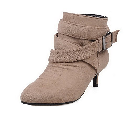 AllhqFashion Womens Kitten-Heels Solid Pointed Closed Toe Frosted Pull-on Boots Apricot WztOneTMb