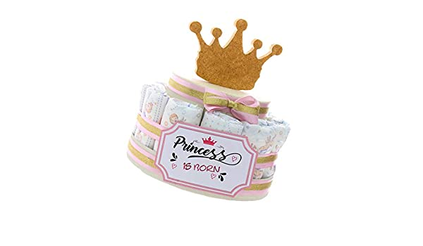 Tarta pa/ñales para beb/é idea regalo original para nacimiento de beb/é corona de princesa para ni/ña