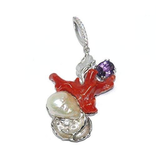 Créations or pendentif en argent rhodié avec zirconium, améthyste et perle irrégulier, corail irréguliers, finition à la main 16men225110