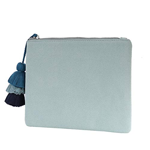 for Faux Clutch Purse Women Suede Mint Accent Handbag Tassel Vegan 05 Green Pouch Casual with Bag AnptrxYp