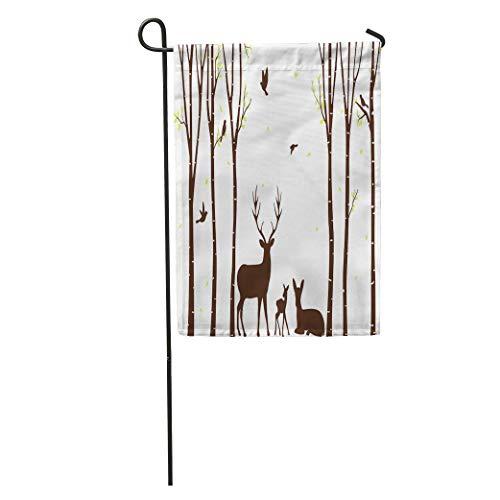 zhurunshangmaoGYS Garden Flag Aspen Birch Tree Deer and Birds Silhouette Autumn Bark Branch Home Yard House Decor Barnner Outdoor Stand 12x18 Inches Flag ()
