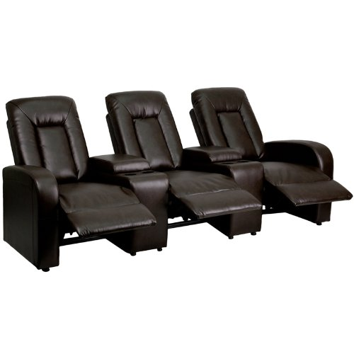 Flash Furniture Eclipse Series 3-Seat Reclining Brown Leather (Large Image)