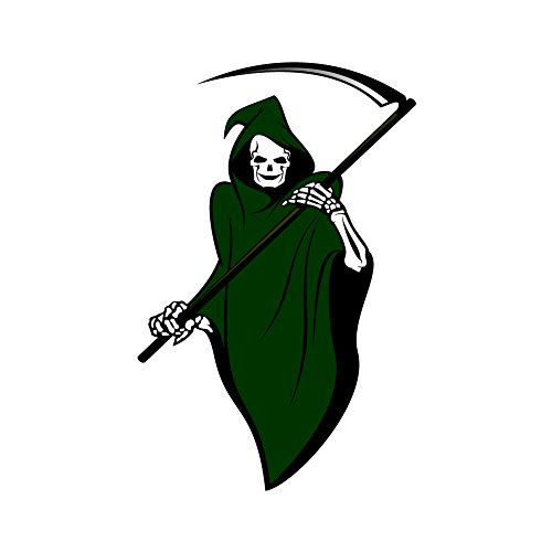 [Green Cloak Grim Reaper Holding Scythe Blade to the Right - 5 Inch Full Color Decal for Macbook, Laptop or other] (Scythe Halloween)