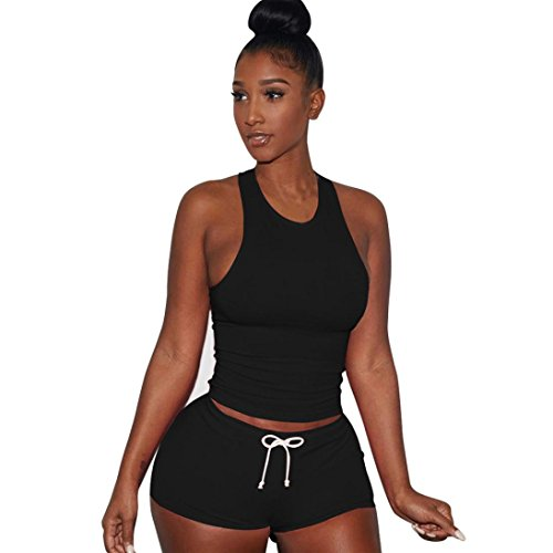 OVERMAL Women 2 Piece Set Sleeveless Split Casual Short Pants Casual Outfit Sportswear (XL, Black)