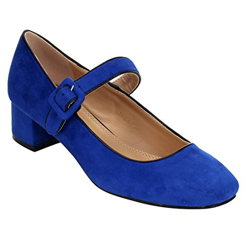 Beston JA08 Women's Low Chunky Heel Mary Jane Pumps Shoes, Color:NAVY, Size:8.5