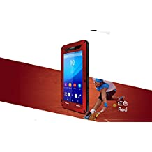 Sony Xperia T2 Ultra Case - CGJY Heavy Duty Aluminum Metal Double mixed Bumper ShockProof WaterProof DustProof with Gorilla Glass Case Cover for Sony Xperia T2 Ultra Red