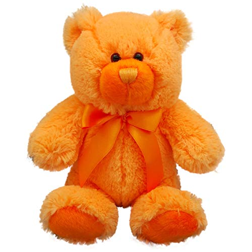 Anico Plush Teddy Bear, Stuffed Animal, Bright Orange, 8 Inches Tall