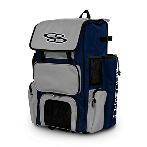 """Boombah Rolling Superpack Baseball/Softball Gear Bag - 23-1/2"""" x 13-1/2"""" x 9-1/2"""" - Navy/Gray - Telescopic Handle and Holds 4 Bats - Wheeled Version"""