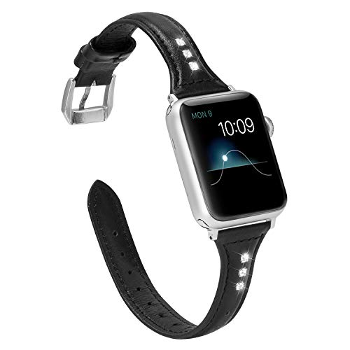 Wearlizer Black Slim Leather Compatible with Apple Watch Band 38mm 40mm iWatch Womens Rhinestone Strap Beauty Wristband Sport Replacement Cute Bracelet with Silver Metal Clasp Series 4 3 2 1 Edition