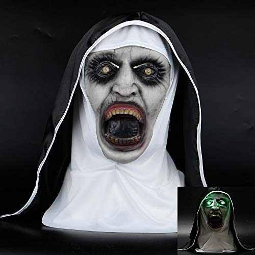 PAPBI Nun Mask Valak Mask Big Size Horror Cosplay Scary Creepy Evil Latex The Nun Masks Full Large Face Halloween Christmas Collectable Collection Gift Collectibles Gifts for Adult