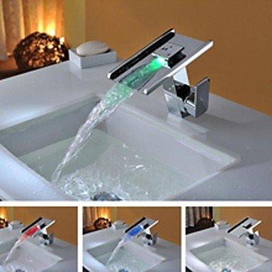 JIAHENGY Sink Mixer Faucet tap Modern fashion simple fashion LED RGB Light Waterfall Glass ingle Handle Washroom Basin Toilet Kitchen bathroom