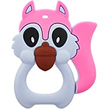 PBA-Free, Phthalates-free Blue and Pink Squirrel Teether by Busy Bub, 100% Food Grade Silicone Teething Toy, Dishwasher safe